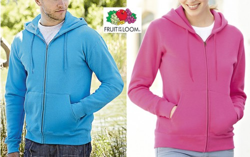 Fruit of the Loom Zip Capuche Homme et Femme 280g (62062+62118)