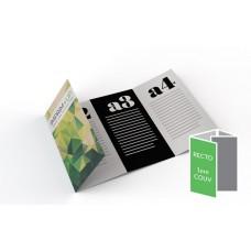 Dépliant 10x21cm Portrait - Pli roulé 8 pages - 4 volets - classique
