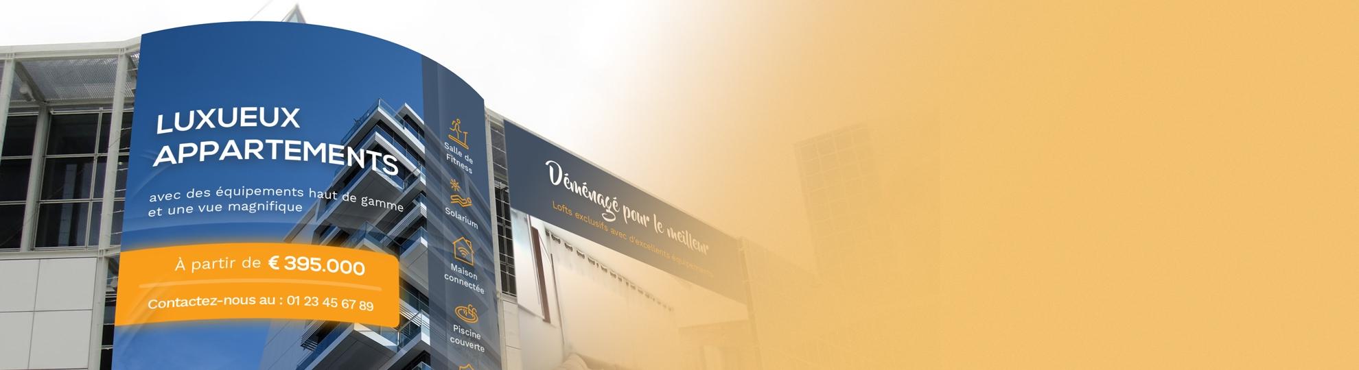 Imprimer bâche publicitaire façade et mur