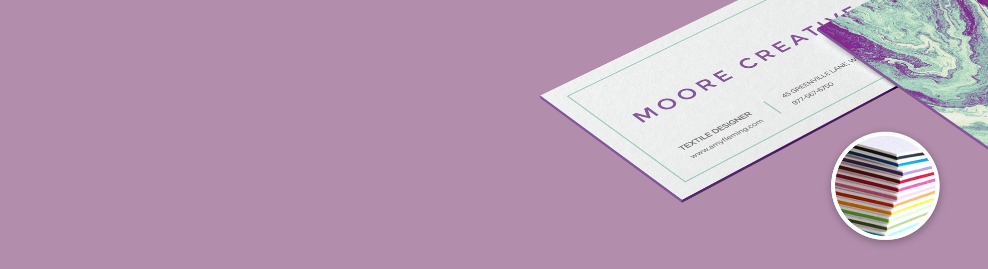 Imprimer carte de visite tranche colorée