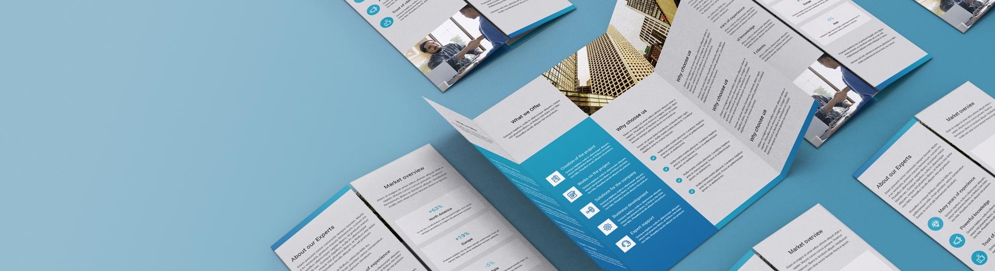 Imprimer vos dépliants publicitaires plis spéciaux fenêtre 3 volets, 2 plis