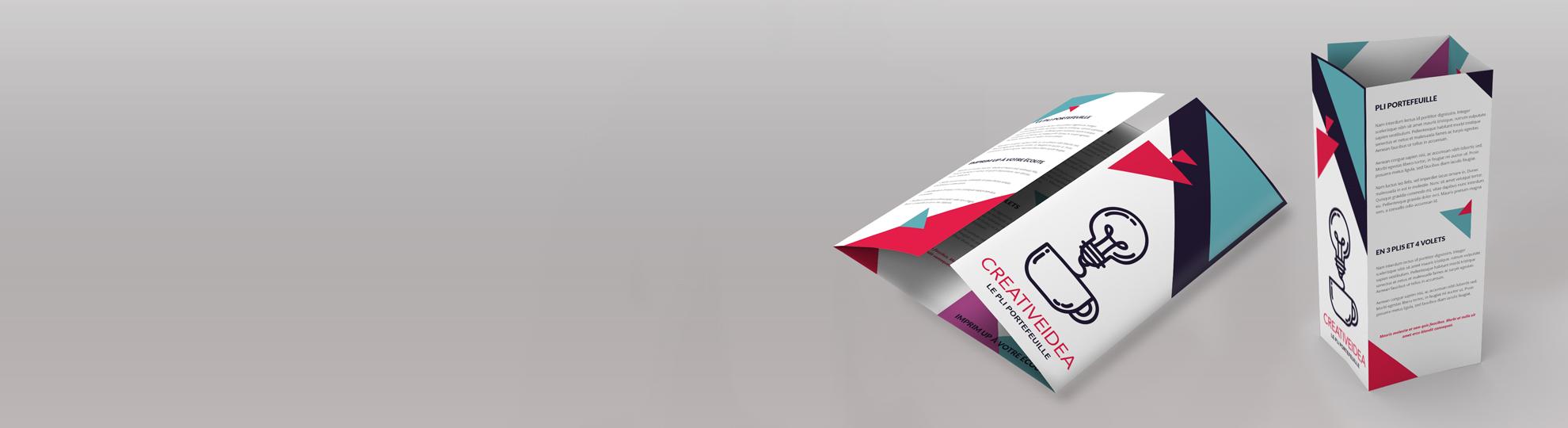 Imprimer vos dépliants plis spéciaux Portefeuille 3 volets, 2 plis