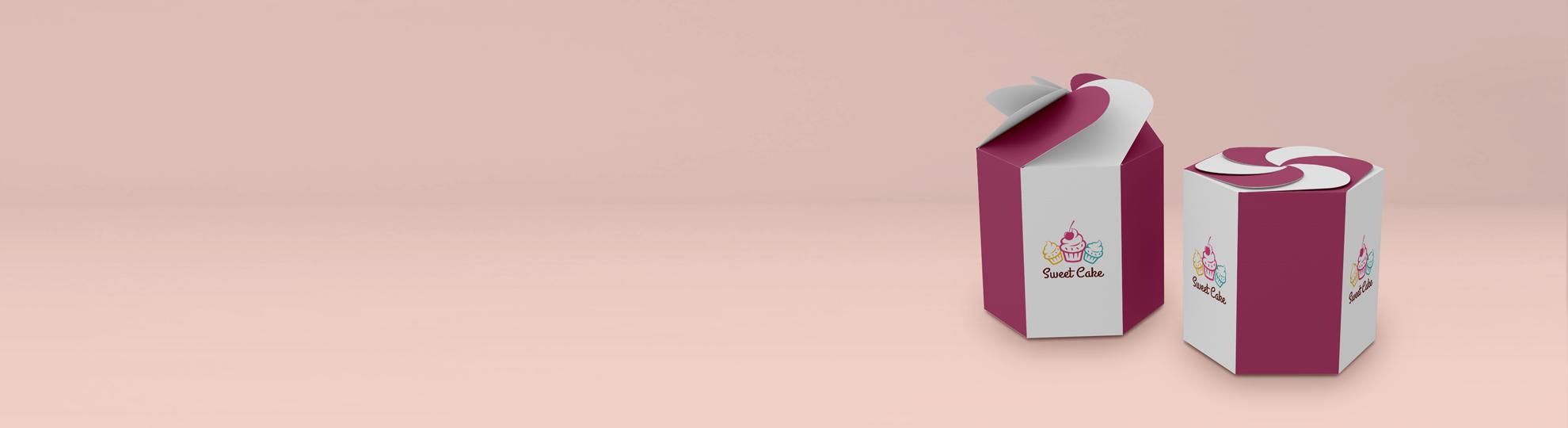 Boîte carton pétale carrée et hexagonale à personnaliser