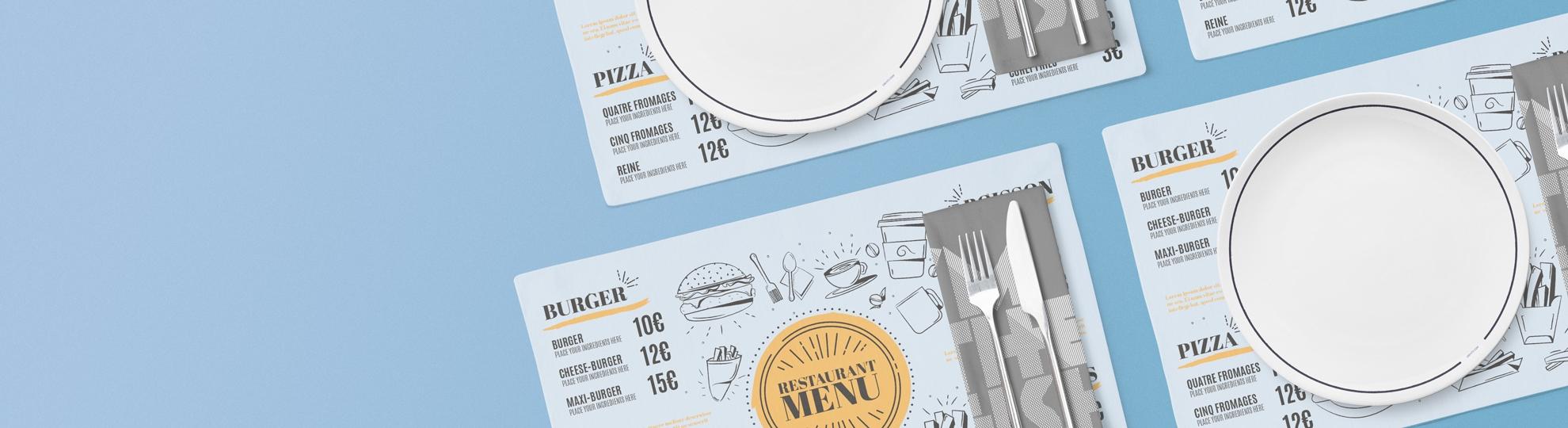 Impression set de table plastique pour restaurant, hôtel