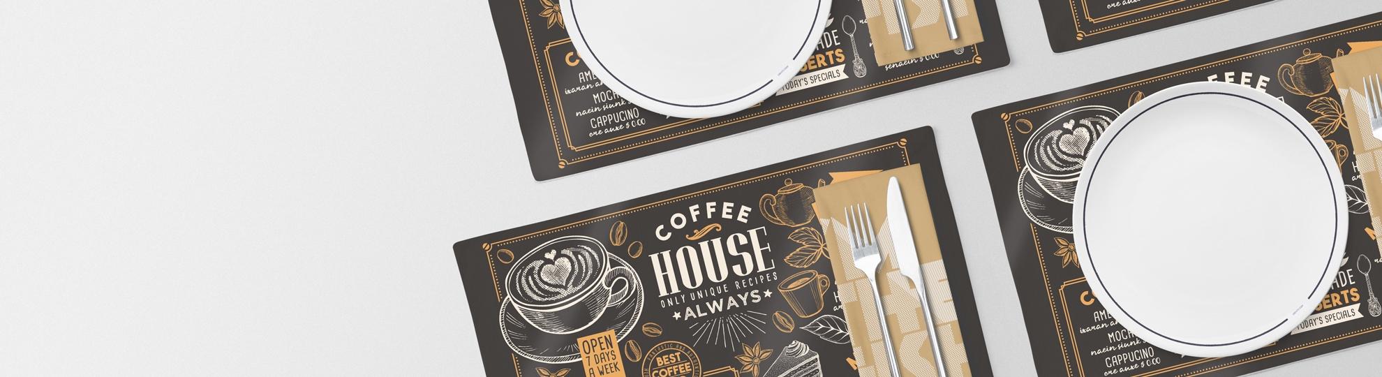 Impression set de table PVC pour restaurant, hôtel