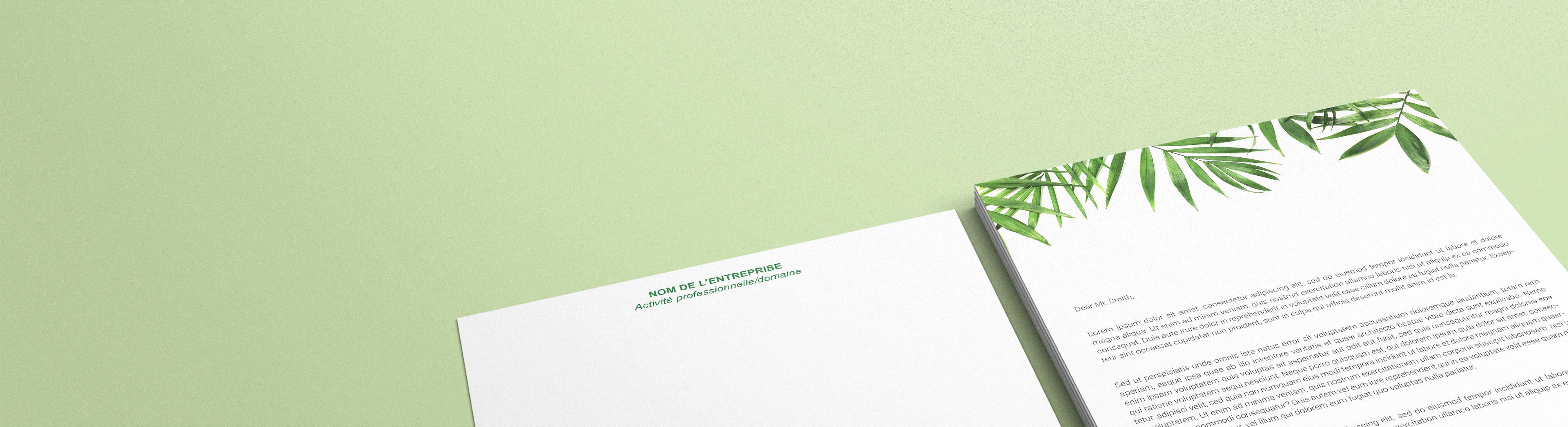 papier en tête imprimée sur papier recyclé