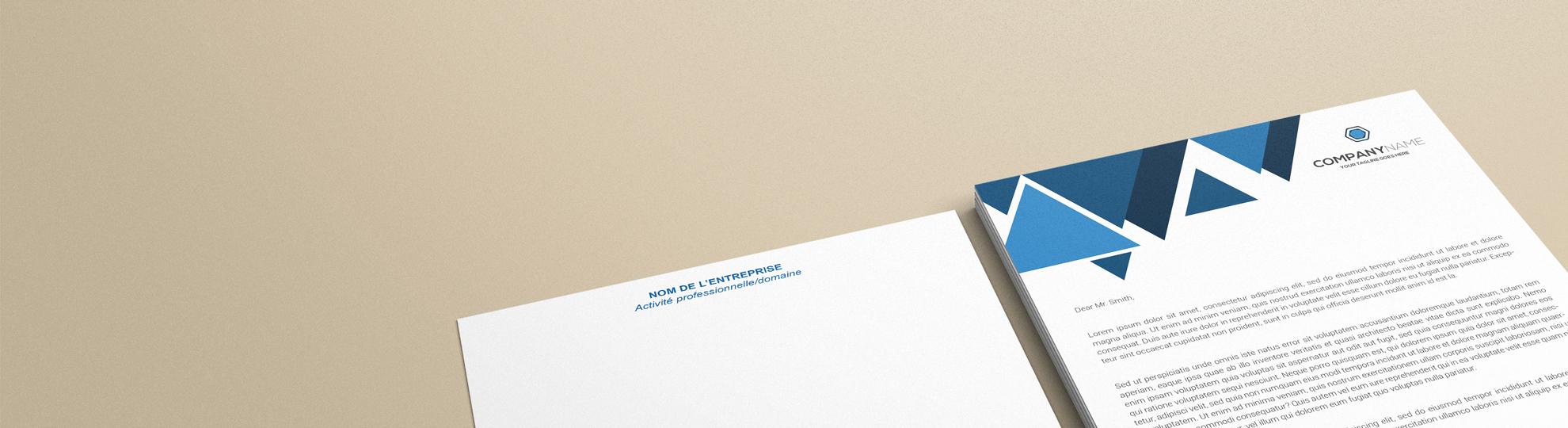 Papier à lettre standard personnalisable à imprimer entête