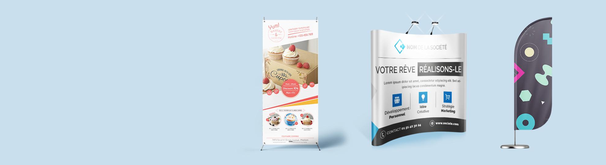 Création PLV expo pour stand salon sur Imprim Up