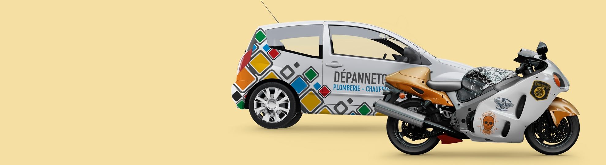 Impression pour véhicules avec stickers voiture et moto