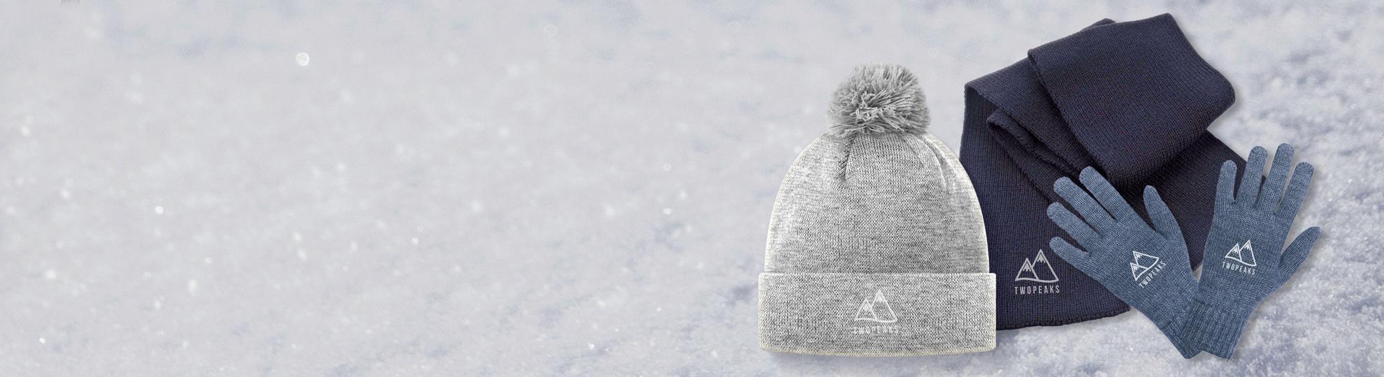 Impression bonnet, écharpe et gants personnalisés publicitaire
