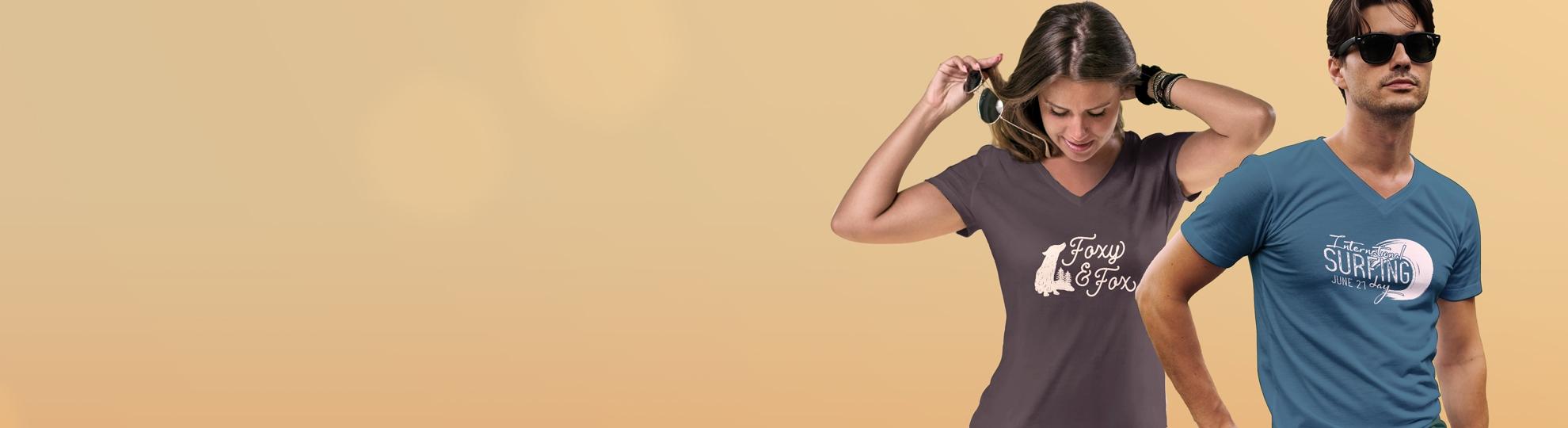 Impression t-shirt manche courte col V homme et femme personnalisé pas cher